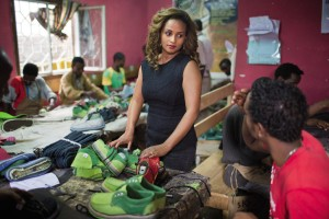 Bethlehem Alemu, a founder and manager of Sole Rebels, at her workshop in Addis Ababa, Ethiopia. Photo by Jiro Ose